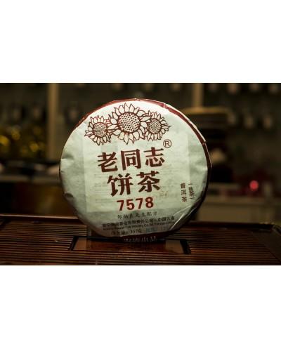 "Пуэр (шу)  ХАЙВАНЬ (Haiwan Lao Tong Zhi)  « Лао Тун Чжи ""7578""» блин 357 грамм"